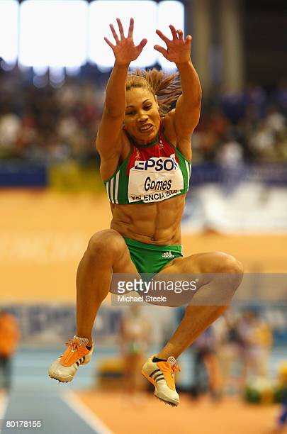 Naide Gomes of Portugal competes in the Womens Long Jump Final during the 12th IAAF World Indoor Championships at the Palau Lluis Puig on March 9,...