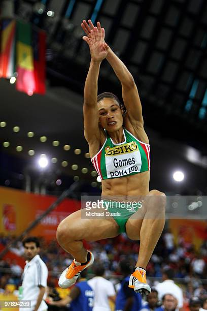 Naide Gomes of Portugal competes in the Womens Long Jump Final during Day 3 of the IAAF World Indoor Championships at the Aspire Dome on March 14,...