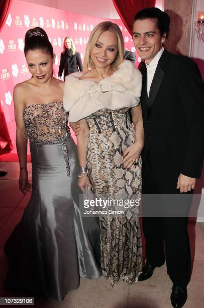 Naike Rivelli Ornella Muti and Andrea Muti attend the 'Barbara Day 2010' Charity Gala at Haus der Kunst on December 4 2010 in Munich Germany