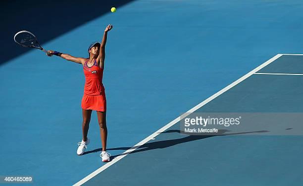 Naiktha Bains of Australia serves in her qualifying singles match against Teliana Pereira of Brazil during the Moorilla Hobart International at...