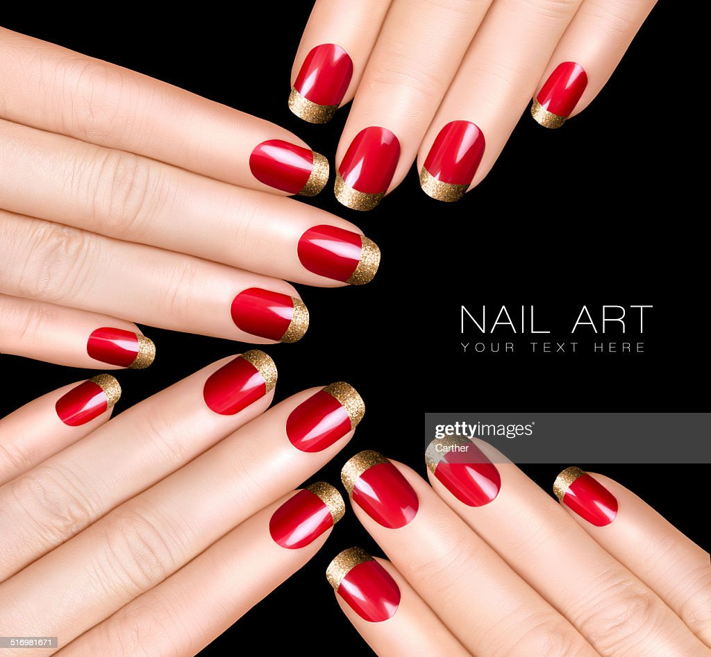 Nail Art Trend Luxury Polish Golden Stickers Stock Photo