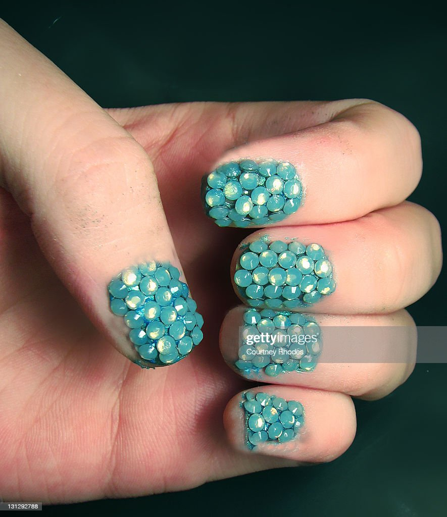Nail Art With Aqua Crystals Stock Photo Getty Images