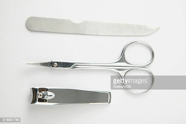 nail file, scissors and clippers - nail scissors stock pictures, royalty-free photos & images