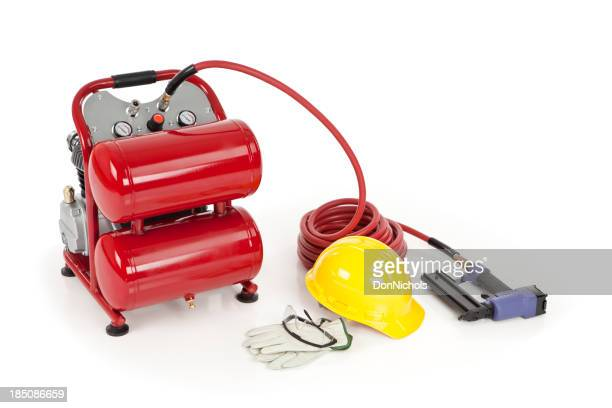 Nail Gun, Air Compressor, and Safety Equipment