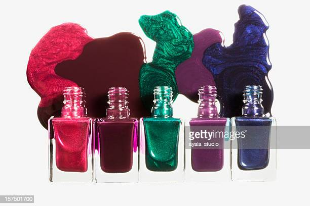 nail polish bottles on white background. - nail varnish stock pictures, royalty-free photos & images