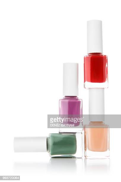 nail polish on white background - nail varnish stock pictures, royalty-free photos & images