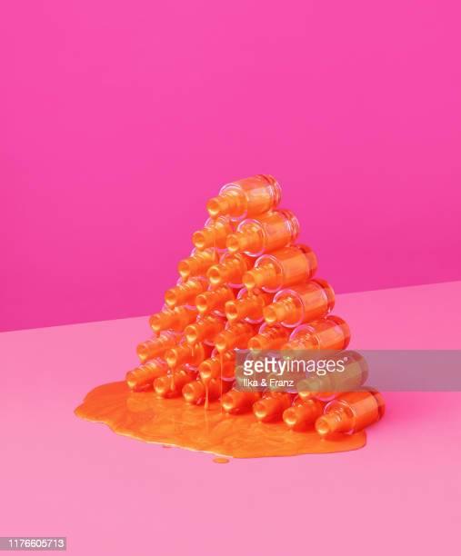 nail polish pyramid - nail polish stock pictures, royalty-free photos & images