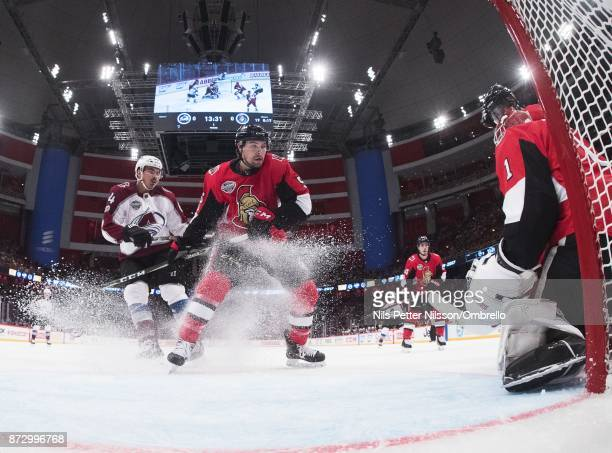 Nail Yakupov of Colorado Avalanche and Cody Ceci of Ottawa Senators during the 2017 SAP NHL Global Series match between Colorado Avalanche and Ottawa...