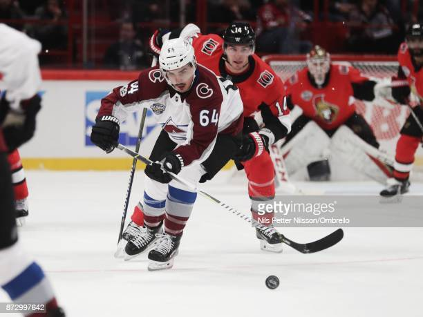 Nail Yakupov of Colorado Avalanche during the 2017 SAP NHL Global Series match between Colorado Avalanche and Ottawa Senators at Ericsson Globe on...