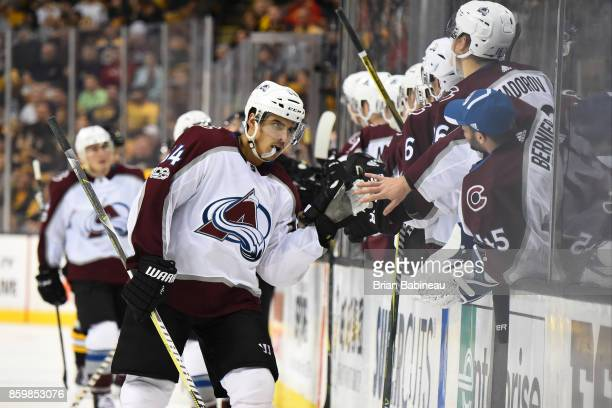 Nail Yakupov of the Colorado Avalanche celebrates his goal against the Boston Bruins at the TD Garden on October 9 2017 in Boston Massachusetts