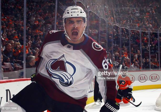Nail Yakupov of the Colorado Avalanche celebrates his goal at 537 of the third period against the Philadelphia Flyers at the Wells Fargo Center on...