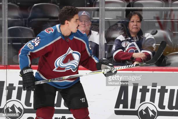 Nail Yakupov of the Colorado Avalanche juggles the puck during warm ups prior to the game against the Winnipeg Jets at the Pepsi Center on November...