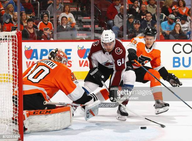 Nail Yakupov of the Colorado Avalanche misses the first period shot against Michal Neuvirth of the Philadelphia Flyers at the Wells Fargo Center on...