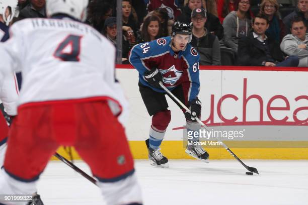 Nail Yakupov of the Colorado Avalanche skates against the Columbus Blue Jackets at the Pepsi Center on January 4 2018 in Denver Colorado