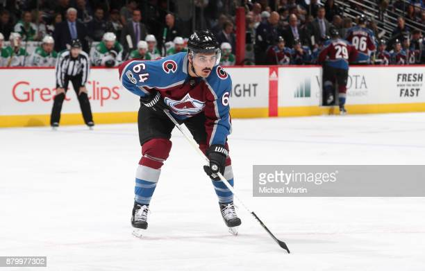 Nail Yakupov of the Colorado Avalanche skates against the Dallas Stars at the Pepsi Center on November 22 2017 in Denver Colorado The Avalanche...