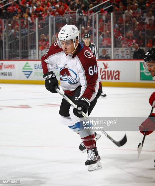 Nail Yakupov of the Colorado Avalanche skates against the New Jersey Devils at the Prudential Center on October 7 2017 in Newark New Jersey The...