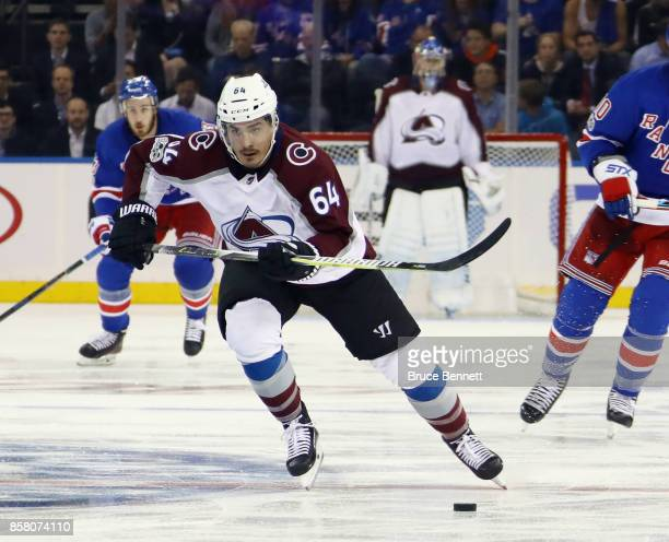 Nail Yakupov of the Colorado Avalanche skates against the New York Rangers at Madison Square Garden on October 5 2017 in New York City The Avalanche...