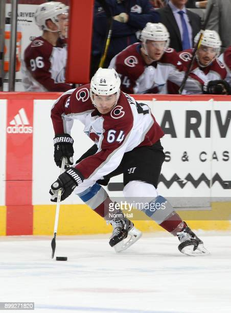 Nail Yakupov of the Colorado Avalanche skates with the puck against the Arizona Coyotes at Gila River Arena on December 23 2017 in Glendale Arizona