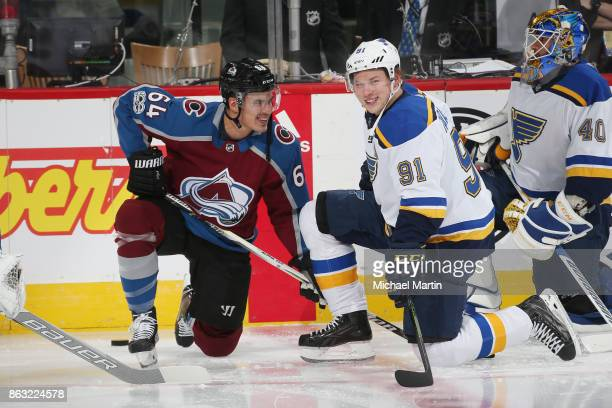 Nail Yakupov of the Colorado Avalanche talks with Vladimir Tarasenko of the St Louis Blues prior to the game at the Pepsi Center on October 19 2017...