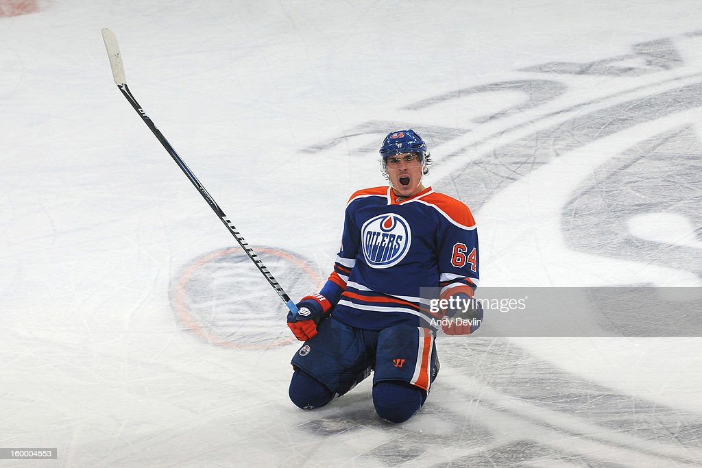 Nail Yakupov #64 of the Edmonton Oilers celebrates after scoring a tying goal with 4 seconds left in a game against the Los Angeles Kings at Rexall Place on January 24, 2013 in Edmonton, Alberta, Canada.