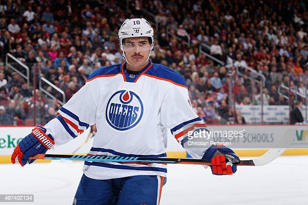 Nail Yakupov of the Edmonton Oilers during the NHL game against the Arizona Coyotes at Gila River Arena on November 12 2015 in Glendale Arizona