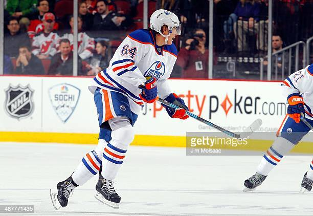Nail Yakupov of the Edmonton Oilers in action against the New Jersey Devils at the Prudential Center on February 7 2014 in Newark New Jersey The...