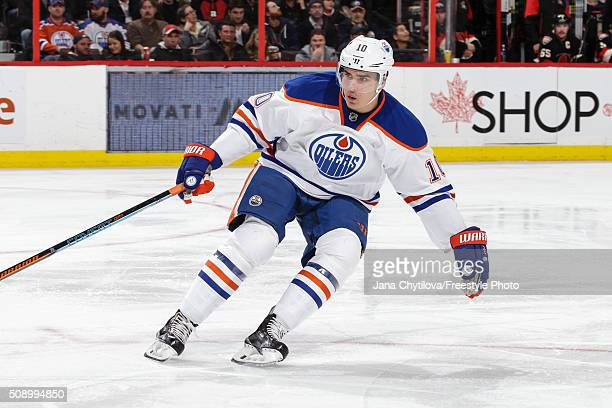 Nail Yakupov of the Edmonton Oilers skates against the Ottawa Senators during an NHL game at Canadian Tire Centre on February 4 2016 in Ottawa...