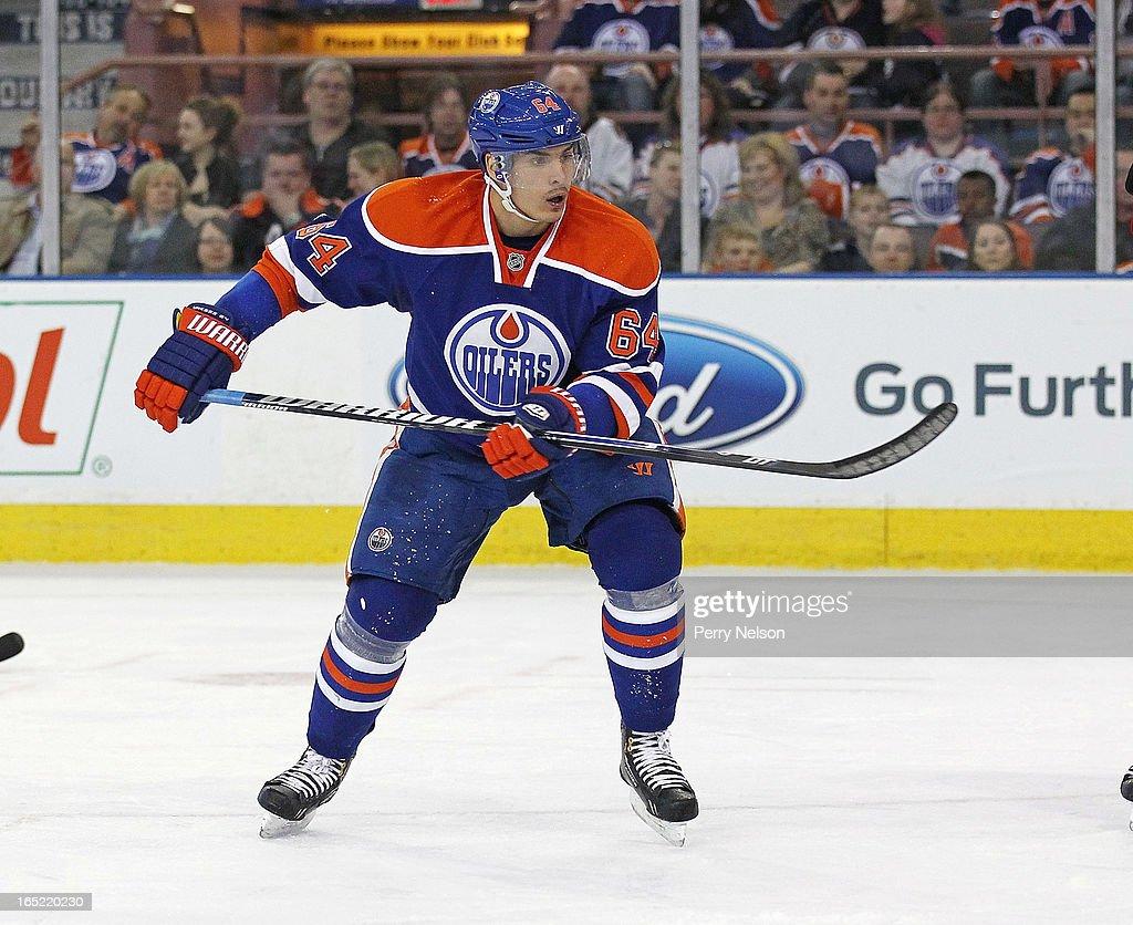 Nail Yakupov #64 of the Edmonton Oilers skates at Rexall Place on April 1, 2013 in Edmonton, Alberta, Canada.