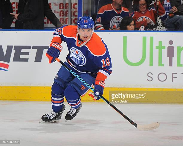 Nail Yakupov of the Edmonton Oilers skates during a game against the Nashville Predators on January 23 2016 at Rexall Place in Edmonton Alberta Canada