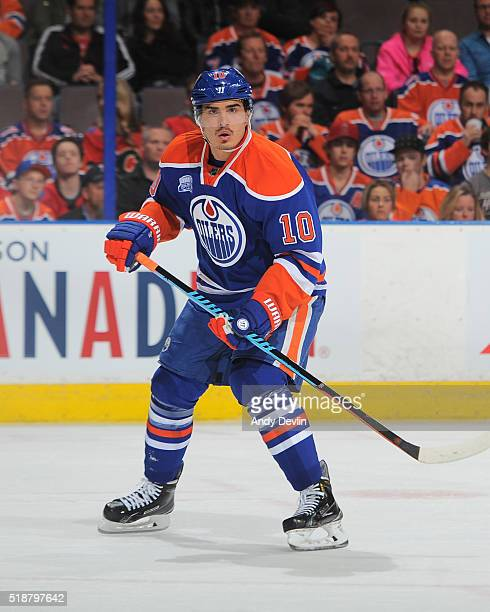 Nail Yakupov of the Edmonton Oilers skates during a game against the Calgary Flames on April 2 2016 at Rexall Place in Edmonton Alberta Canada