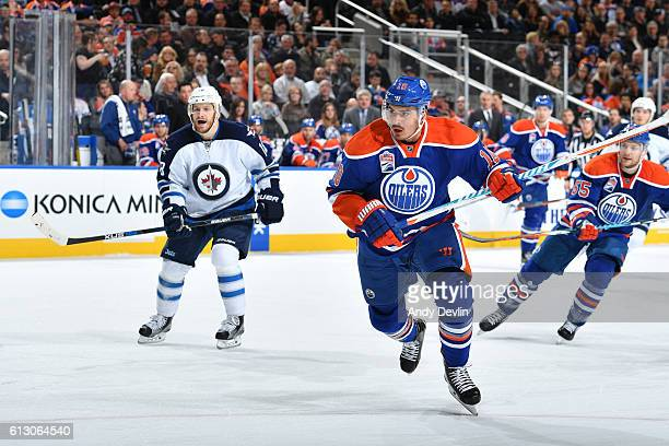 Nail Yakupov of the Edmonton Oilers skates during a preseason game against the Winnipeg Jets on October 6 2016 at Rogers Place in Edmonton Alberta...