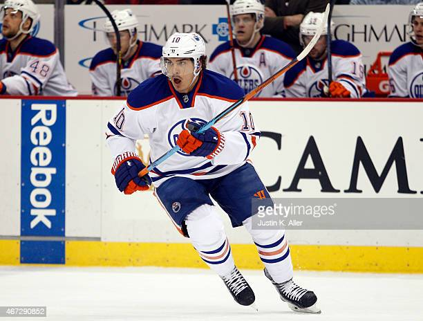 Nail Yakupov of the Edmonton Oilers skates during the game against the Pittsburgh Penguins at Consol Energy Center on March 12 2015 in Pittsburgh...