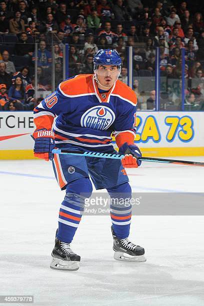 Nail Yakupov of the Edmonton Oilers skates on the ice during the game against the Arizona Coyotes on November 16 2014 at Rexall Place in Edmonton...