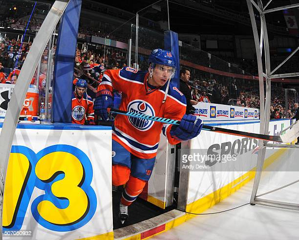 Nail Yakupov of the Edmonton Oilers steps onto the ice prior to a game against the Calgary Flames on January 16 2016 at Rexall Place in Edmonton...