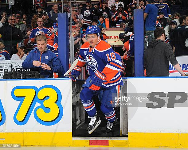 Nail Yakupov of the Edmonton Oilers steps onto the ice prior to a game against the Anaheim Ducks on March 28 2016 at Rexall Place in Edmonton Alberta...