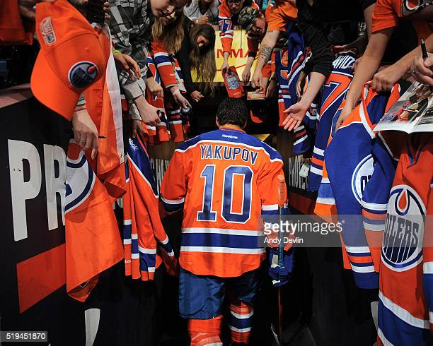 Nail Yakupov of the Edmonton Oilers walks to the locker room prior to the game against the Vancouver Canucks on April 6 2016 at Rexall Place in...
