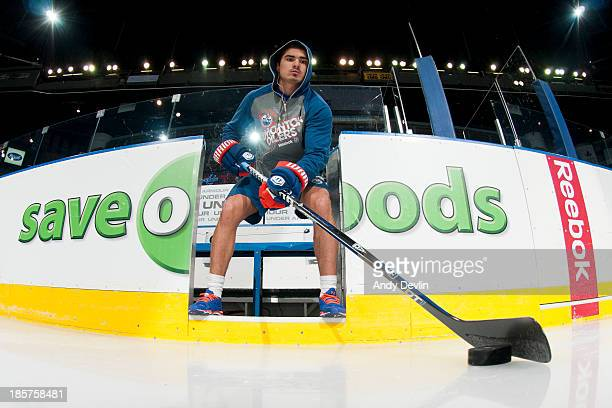 Nail Yakupov of the Edmonton Oilers warms up prior to a game against the Washington Capitals on October 24 2013 at Rexall Place in Edmonton Alberta...