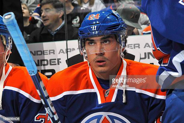 Nail Yakupov of the Edmonton Oilers watches from the bench in a game against the Los Angeles Kings at Rexall Place on January 24 2013 in Edmonton...