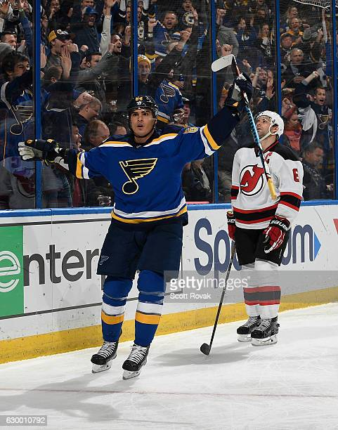 Nail Yakupov of the St Louis Blues celebrates after scoring a goal against the New Jersey Devils on December 15 2016 at Scottrade Center in St Louis...