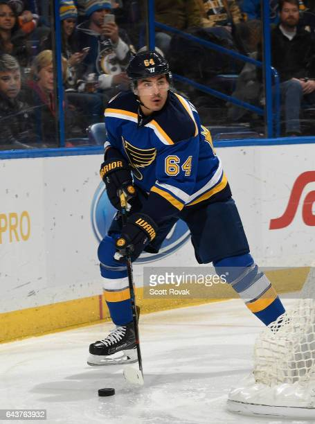 Nail Yakupov of the St Louis Blues handles the puck against the Edmonton Oilers on December 19 2016 at Scottrade Center in St Louis Missouri