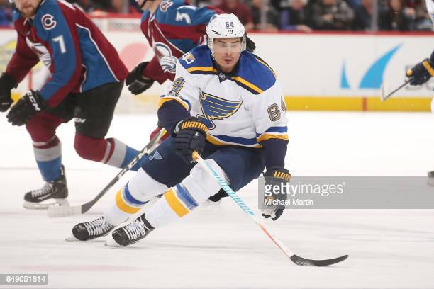 Nail Yakupov of the St Louis Blues skates against the Colorado Avalanche at the Pepsi Center on March 5 2017 in Denver Colorado The Blues defeated...