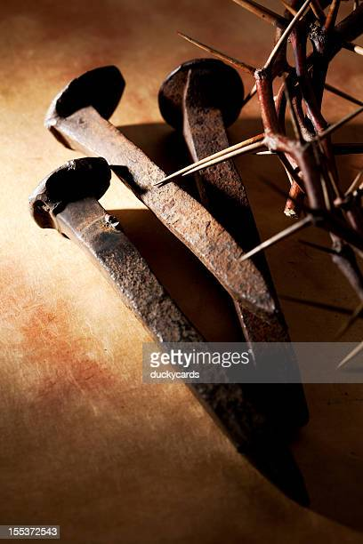 nails and crown of thorn - good friday stock pictures, royalty-free photos & images