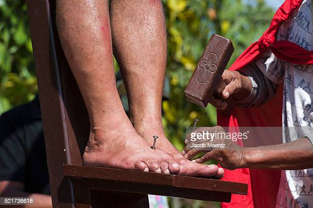 nails hammered into bargayo's feet - pilgrimage stock pictures, royalty-free photos & images