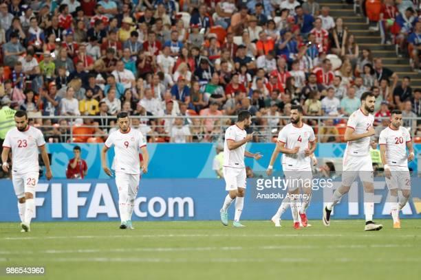 Naim Sliti Anice Badri Yassine Meriah Hamdi Naguez and Ghilane Chalali of Tunisia celebrate after a goal during the 2018 FIFA World Cup Russia Group...