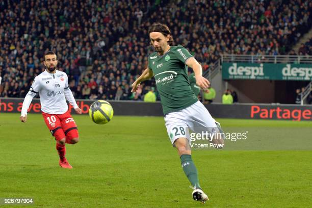 Naim SLITI of DFCO and Neven SUBOTIC of ASSE during the Ligue 1 match between AS SaintEtienne and Dijon FCO at Stade GeoffroyGuichard on March 3 2018...
