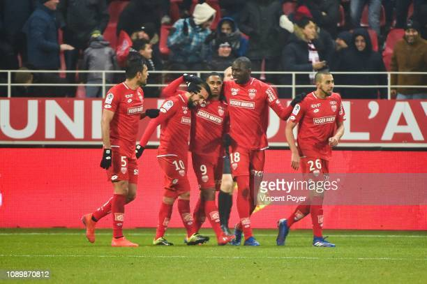 Naim Sliti of DFCO celebrates his goal with teammates during the Ligue 1 match between Dijon and Monaco at Stade Gaston Gerard on January 26 2019 in...