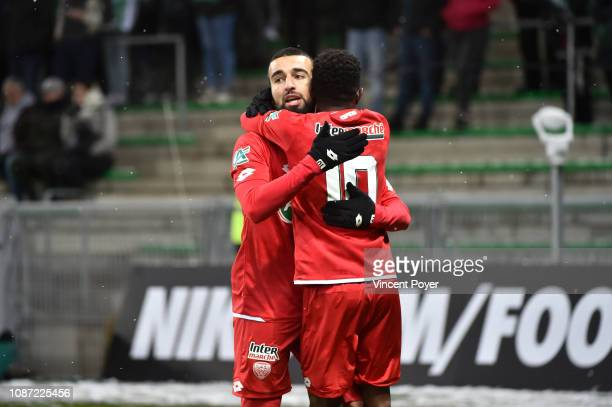 Naim SLITI of Dijon celebrates scoring during the French National Cup match between Saint Etienne and Dijon at Stade GeoffroyGuichard on January 23...