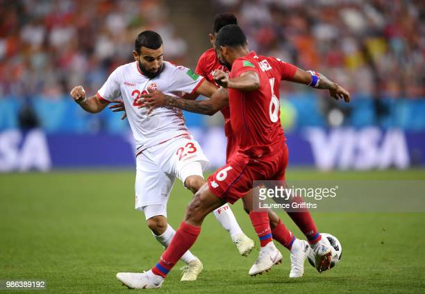Naim Sliti of Tunisia battles for possession with Anibal Godoy and Gabriel Gomez of Panama during the 2018 FIFA World Cup Russia group G match...