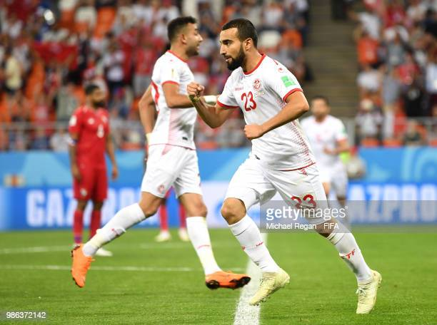 Naim Sliti of Tunisia celebrate his team's first goal during the 2018 FIFA World Cup Russia group G match between Panama and Tunisia at Mordovia...