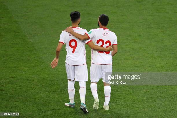 Naim Sliti of Tunisia celebrates victory with teammate Anice Badri following the 2018 FIFA World Cup Russia group G match between Panama and Tunisia...